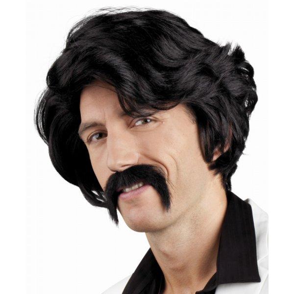 Αποκριάτικη Περούκα Chuck Μαύρη με Μουστάκι