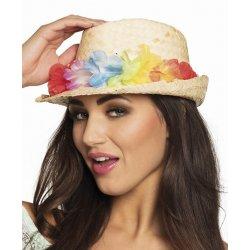 Αποκριάτικο Καπέλο Ψάθινο με Λουλούδια